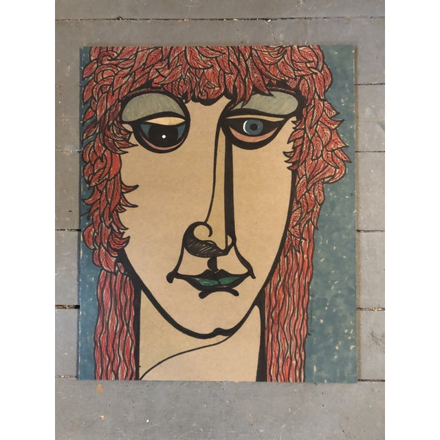 1980s Original Vintage Felt Marker Pop 1980's Portrait Drawing Signed For Sale - Image 5 of 5