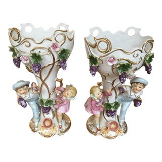 Antique Pair of Old Paris FrenchHand Painted Boy & a Girl Figurine Porcelain Vases - Circa 1880/Reduced For Sale