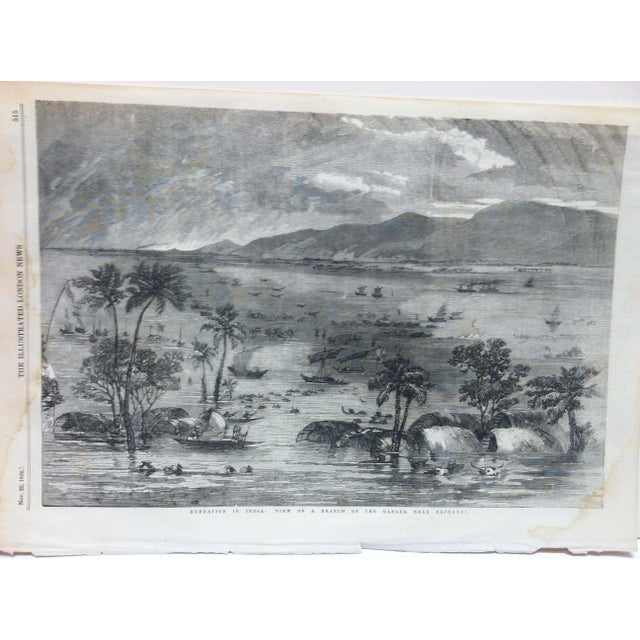 "This is an Antique Original Print from The Illustrated London News that is titled ""View of a Branch of the Ganges - near..."