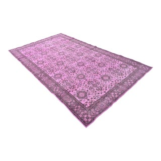 """Pink Overdyed Turkish Hand Knotted Rug - 5'7"""" X 9'8"""" For Sale"""