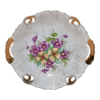 1940s Country Violet Detailed Ceramic Dish For Sale