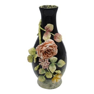 Late 19th Century Longchamp Majolica Applied Rose Impressionist Vase For Sale