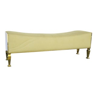 Caracole Signature Modern Khaki and Brass Bench For Sale