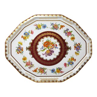 Vintage Octagonal Colorful Flowers Tray by Daher For Sale