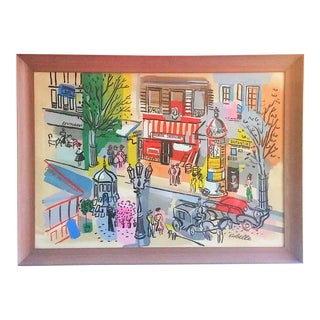"""French Moderist """"Paris Street"""" Arcrylic Painting by Charles Cobelle For Sale"""