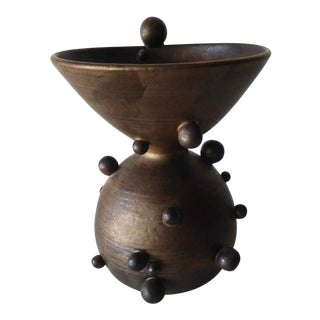 "Bronze-Glazed Ceramic ""Spheres"" Vessel by Contemporary American Artist Titia Estes - Short For Sale"