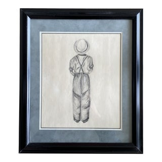 "1990s ""Boy Standing"" Figurative Pencil Drawing, Framed For Sale"