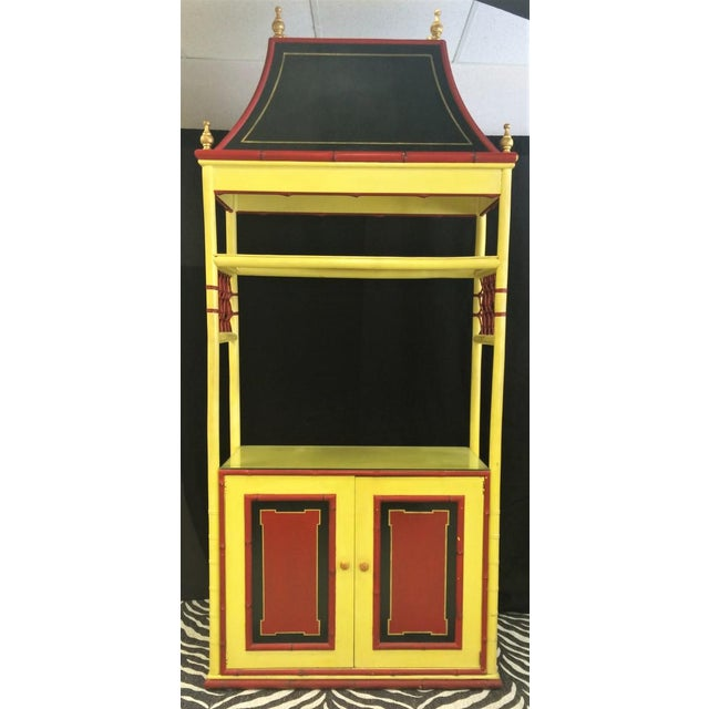 "Chinoiserie pagoda cabinet in Palm Beach yellow and red lacquer accents!~ Sz: 40""W x 90""H x 18""L"