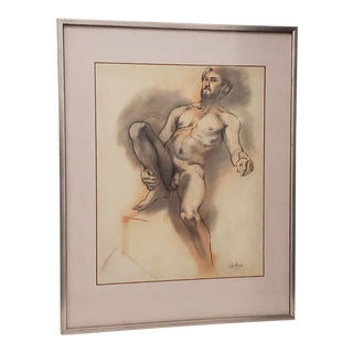 Framed Vintage Figural Nude Charcoal Study by Quitman For Sale
