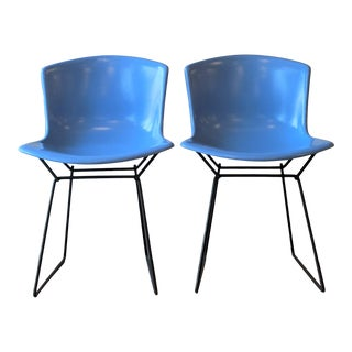 Harry Bertoia Blue Molded Shell Chairs - a Pair For Sale