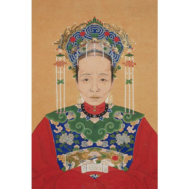 Pair of Chinese Patriarch Matriarch Ancestral Portraits For Sale - Image 4 of 13