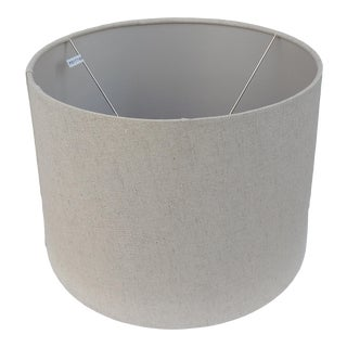 1990s Natural Linen Drum Lamp Shade For Sale