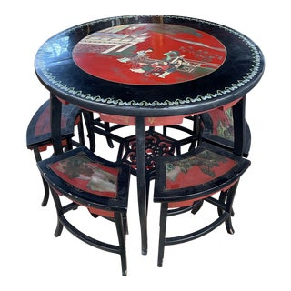 Asian Round Dining Table With Stools For Sale