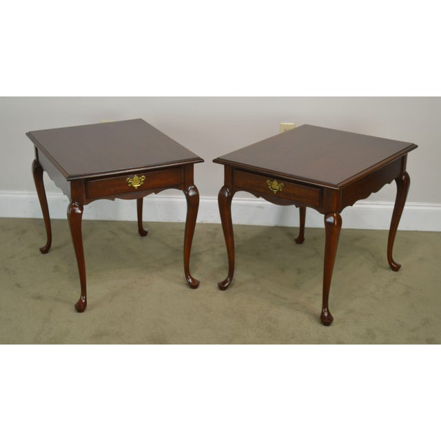 High Quality American Made Vintage Pair of Solid Cherry Wood Side Tables with Dovetailed Drawers