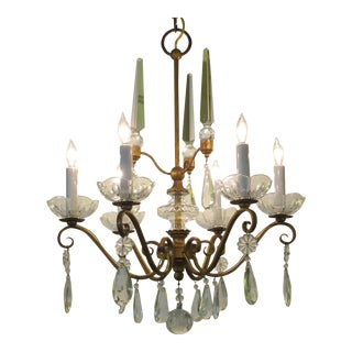 Elegant French 1940s Gilt-Metal Six-Light Chandelier With Crystal Pendants For Sale