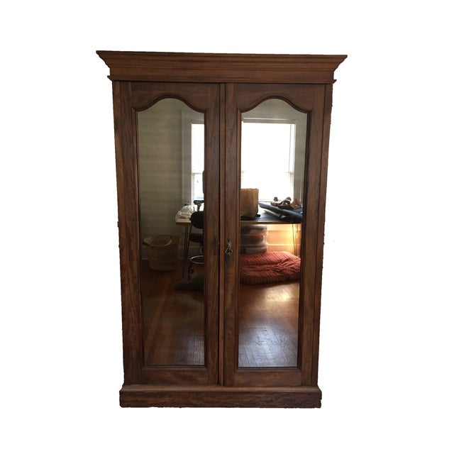 Solid Wood Armoire With Antiques Mirrors - Image 3 of 5
