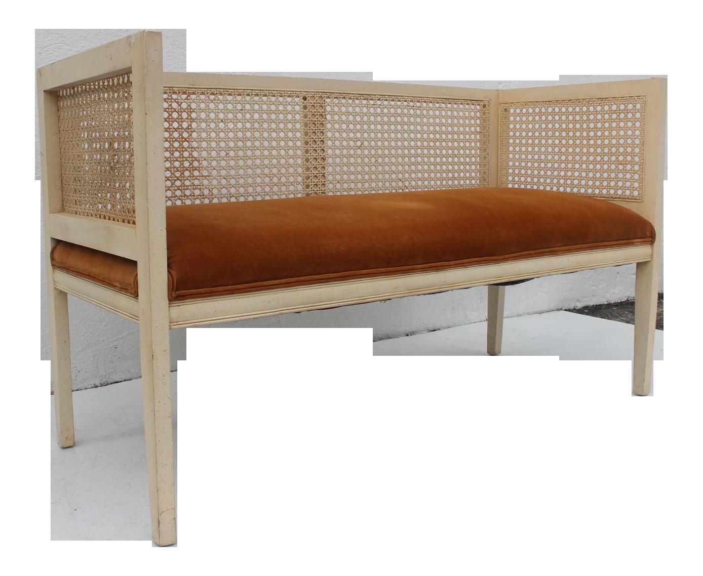 Charming Vintage Wood U0026 Cane Settee