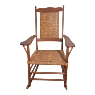 Antique Woven Rush Rocking Chair For Sale