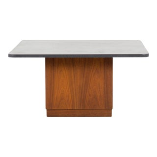 1960s Mid Century Modern Founders Walnut and Slate Top Cubed Coffee Table For Sale