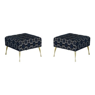 Pair of Sophisticated Chenille Ottomans on Italian Style Metal Legs, Chenille Bench, Italian Style, Navy Blue Ottomans Ottoman For Sale