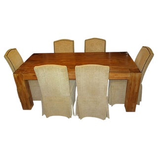 1970s Rustic Farmhouse Dining Set - 7 Pieces For Sale