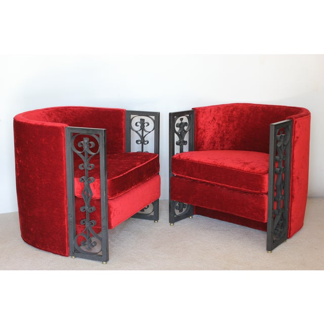 Wrought Iron and Red Velvet Club Chairs - Pair - Image 2 of 9