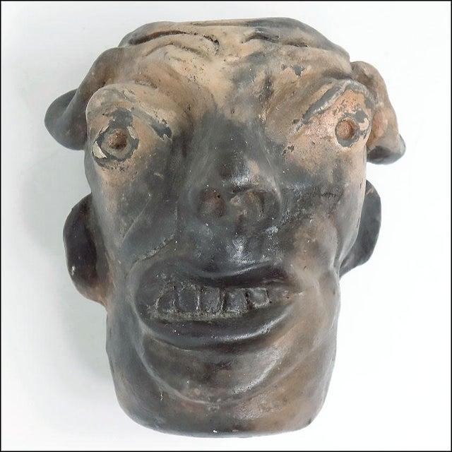 Auburn Georgia Blizzard Vintage Folk Art Old Devil Pottery Sculpture Face Jug Cup For Sale - Image 8 of 13