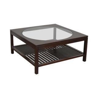 Stickley Dark Cherry Metropolitan Square Coffee Table W/ Round Glass For Sale