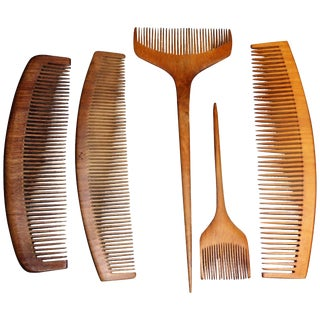 Vintage 1930s Japanese Tsuge Wood Comb Collection - 5 Pieces For Sale