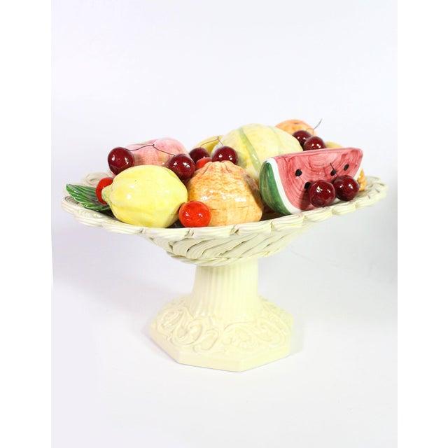 Majolica 1940s Handmade Porcelain Italian Topiary Fruit on Lattice Pedestal For Sale - Image 4 of 8