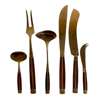 Bronze & Rosewood Flatware - 86 Pieces (Service for 8) For Sale