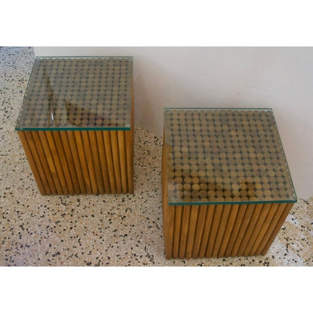 Vintage Square Rattan Side Tables - a Pair For Sale - Image 4 of 6