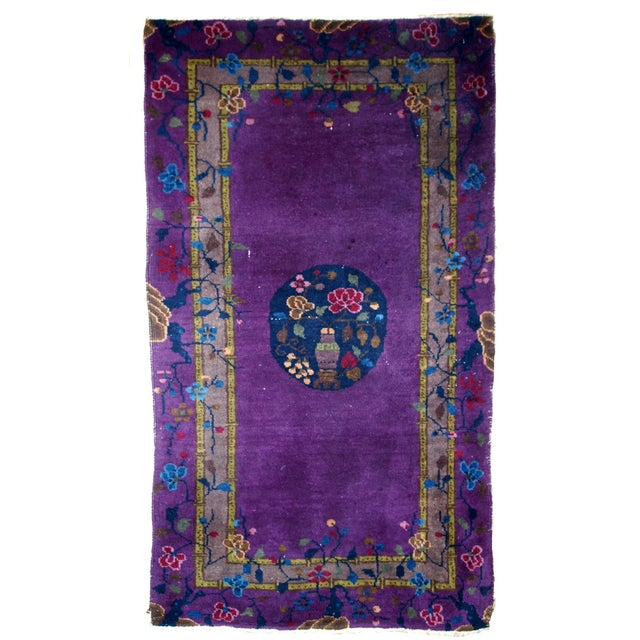 1920s, Hand Made Antique Art Deco Chinese Rug 2.10' X 4.9' For Sale - Image 13 of 13