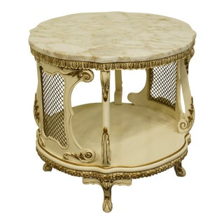 1970s Louis XVI Virgilio Furniture Chicago Il French Provincial White Marble Top Accent/End Table For Sale