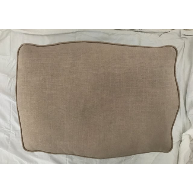 French Style Linen Ottoman - Image 5 of 5