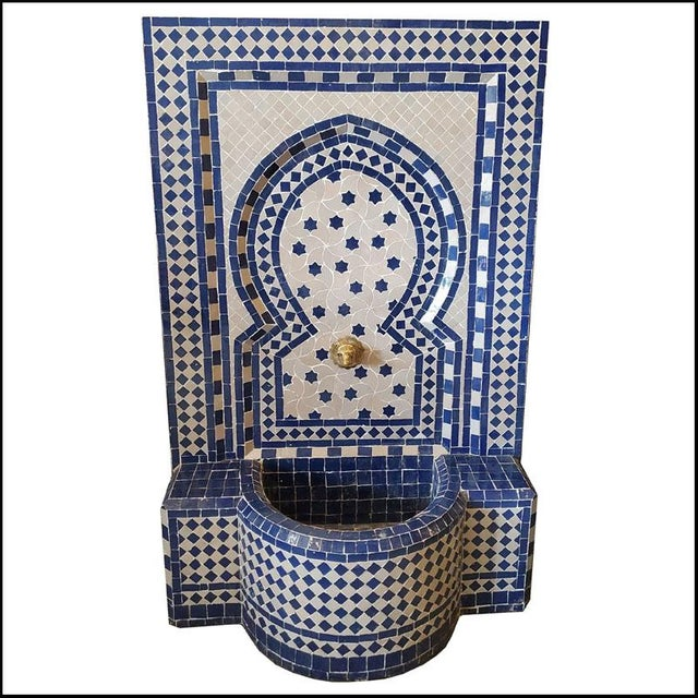White & Blue Moroccan Mosaic Fountain For Sale In Orlando - Image 6 of 6