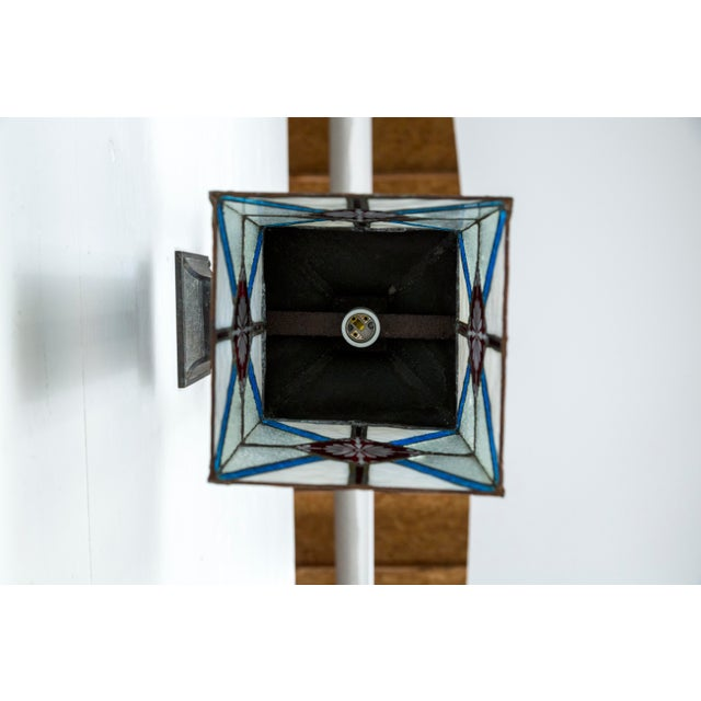Metal Blue, White & Deep Red Stained Glass & Bronze Lantern Sconce For Sale - Image 7 of 12