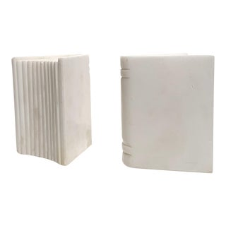 Carrara Marble Bookends - a Pair For Sale