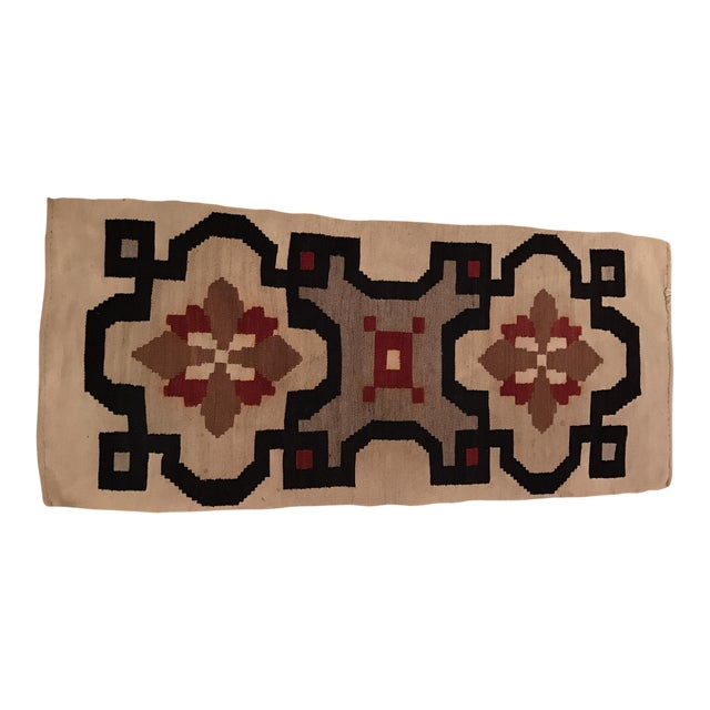 Vintage Woven Kilim Aztec Throw Rug or Wall Hanging - 1′12″ × 4′4″ - Image 1 of 7