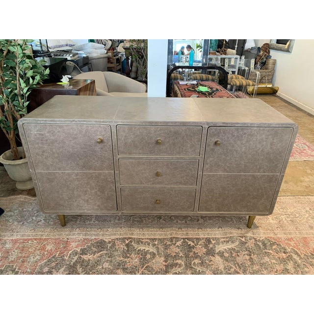 Mid-Century Modern Leather Buffet For Sale In Los Angeles - Image 6 of 6