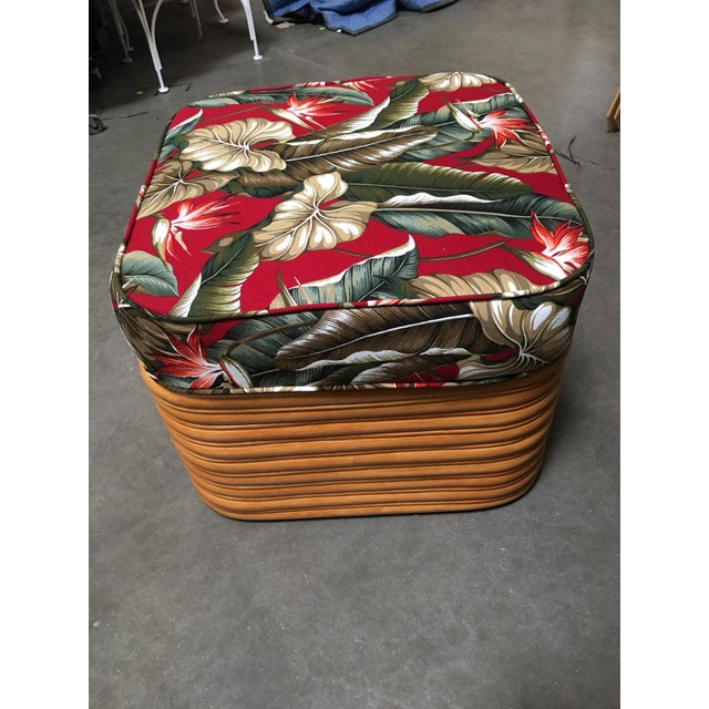 Wood Rattan Fan Arm Lounge Chair With Ottoman Set For Sale - Image 7 of 9