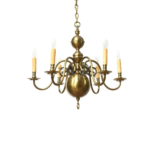 Six Arm Continental Colonial Chandelier For Sale - Image 11 of 11