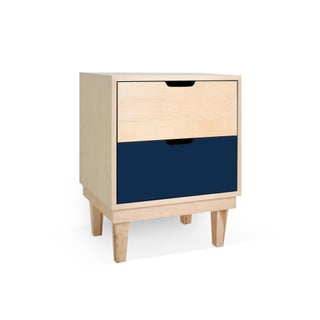Kabano Modern Kids 2-Drawer Nightstand in Maple With Deep Blue Finish Preview