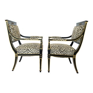Gustavian Neoclassical Ebonized and Giltwood Armchairs For Sale