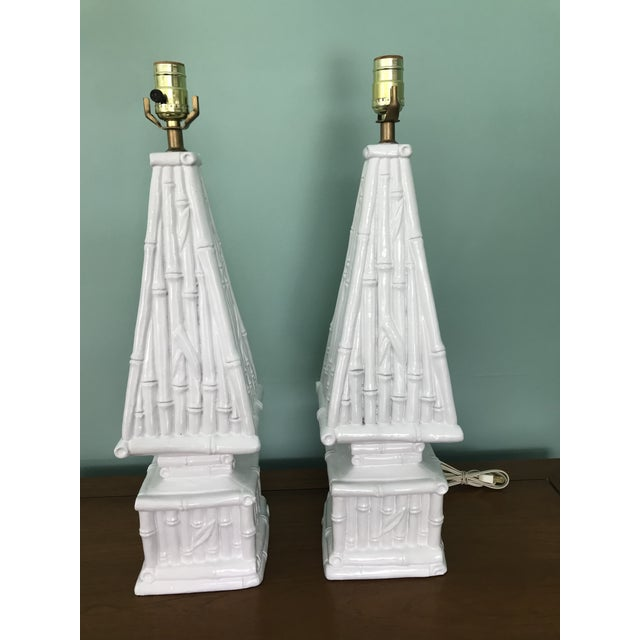 Mid 20th Century 20th Century Hollywood Regency Ceramic Bamboo Obelisk Lamps - a Pair For Sale - Image 5 of 7