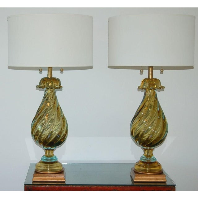 The Marbro Lamp Company Marbro Murano Glass Table Lamps Gold Blue For Sale - Image 4 of 10
