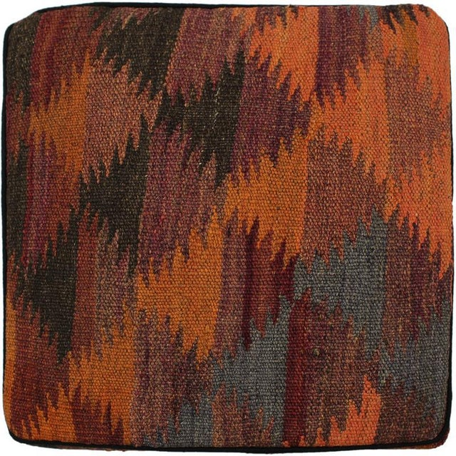 2010s Boho Chic Camp Orange/Rust Handmade Kilim Upholstered Ottoman For Sale - Image 5 of 8