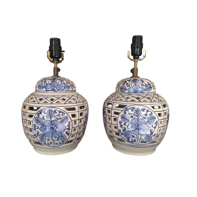 Blue and White Chinese Ceramic Lamps - A Pair - Image 1 of 5