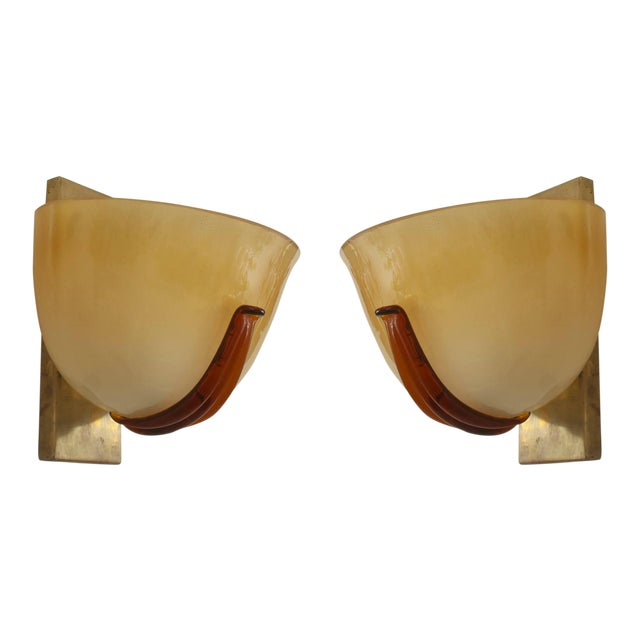 Italian 1940s Venetian Murano Gold Dusted Glass Wall Sconces - a Pair For Sale