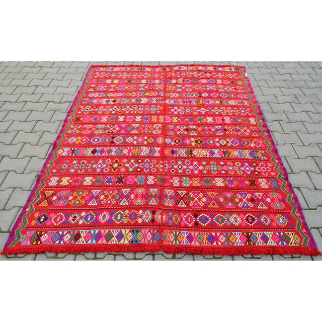 Modern Modern Colorful Area Rug - 5′6″ × 6′12″ For Sale - Image 3 of 9